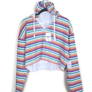 NWT Forever 21 Striped Crop Hoodie - Small